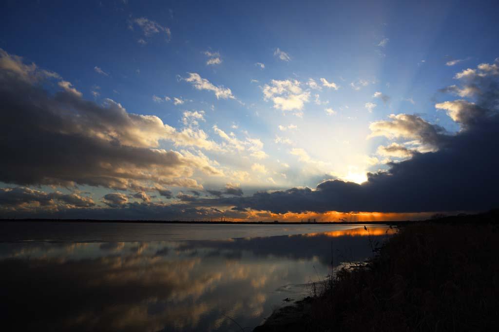 foto,tela,gratis,paisaje,fotograf�a,idea,La puesta de sol del Lake Uto Ney, Suelo h�medo, Hielo, Temperatura de congelaci�n, Cielo azul