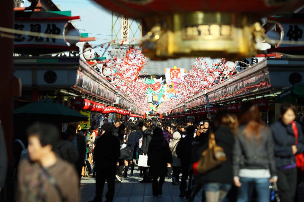 photo,material,free,landscape,picture,stock photo,Creative Commons,The turnout of shops lining a passageway, tourist, Senso-ji Temple, Asakusa, lantern