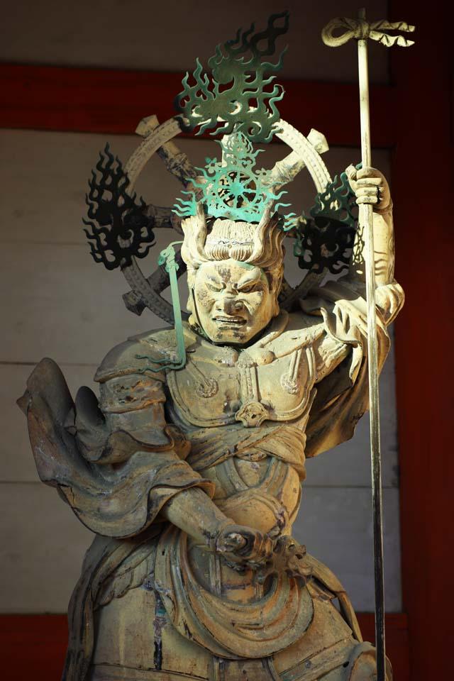 fotografia, materiale, libero il panorama, dipinga, fotografia di scorta,Guardiano di Bianco di Tempio di Ninna-ji della statua di Oriente, Governi quattro Devas, Immagine buddista, divinit� custode, la divinit� custode di Buddismo dio della giustizia