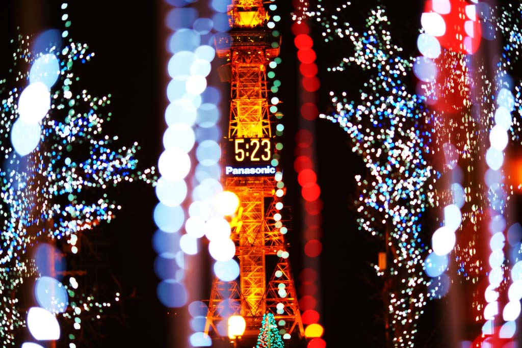 photo,material,free,landscape,picture,stock photo,Creative Commons,White illuminations, An electric wave tower, Illuminations, light, I am beautiful