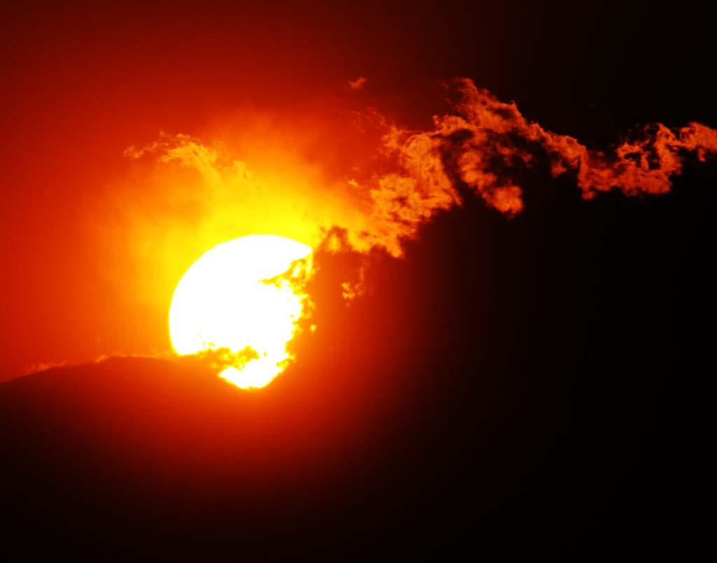 fotografia, materiale, libero il panorama, dipinga, fotografia di scorta,Mt. Fuji della distruzione da fuoco, Sole che mette, Mt. Fuji, Rosso, nube