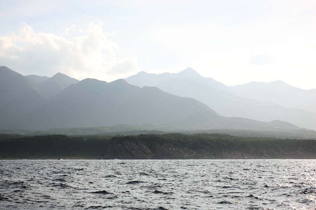 photo, la mati�re, libre, am�nage, d�crivez, photo de la r�serve,Yakushima, ridgeline, La mer, falaise, nuage