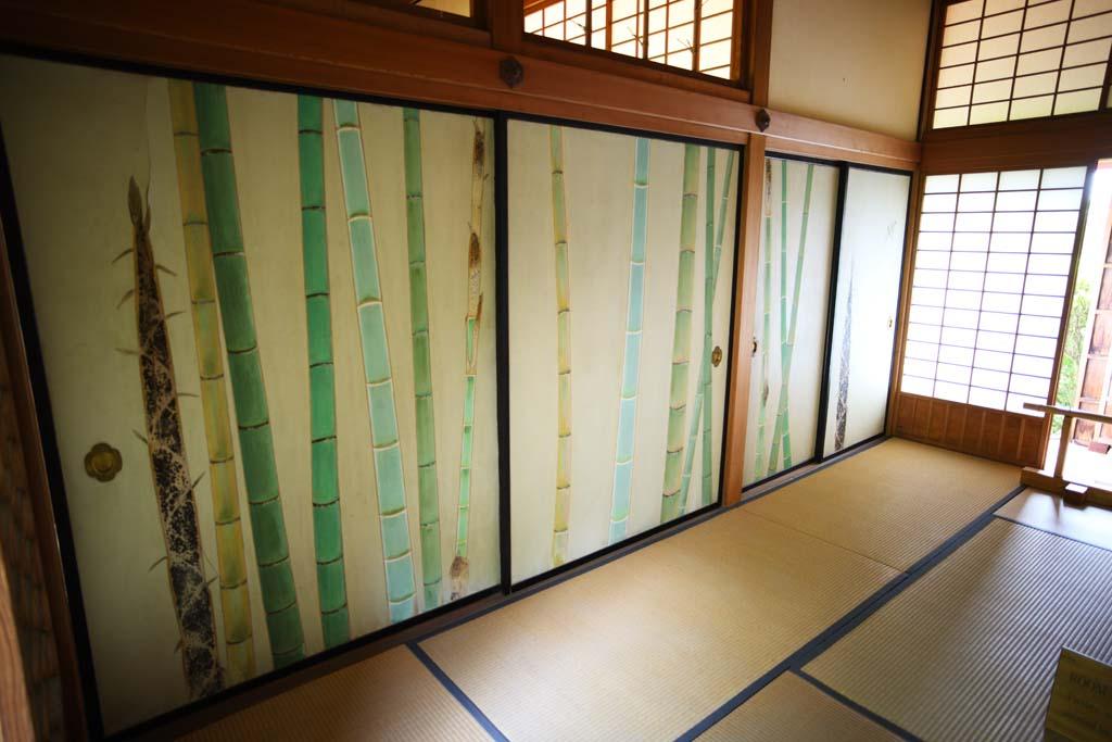 foto,tela,gratis,paisaje,fotograf�a,idea,Enramada de Yoshifumi de jard�n de Kairaku - en, Fotograf�a de fusuma, Bamb�, Fotograf�a, Felpudo de tatami