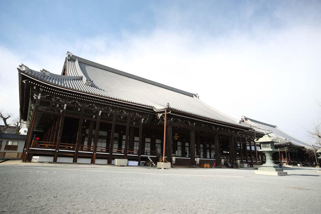 foto,tela,gratis,paisaje,fotografía,idea,El oeste santuario de Honganji en que la imagen del fundador es instalada en, Honganji, Chaitya, Shinran, Edificio de madera
