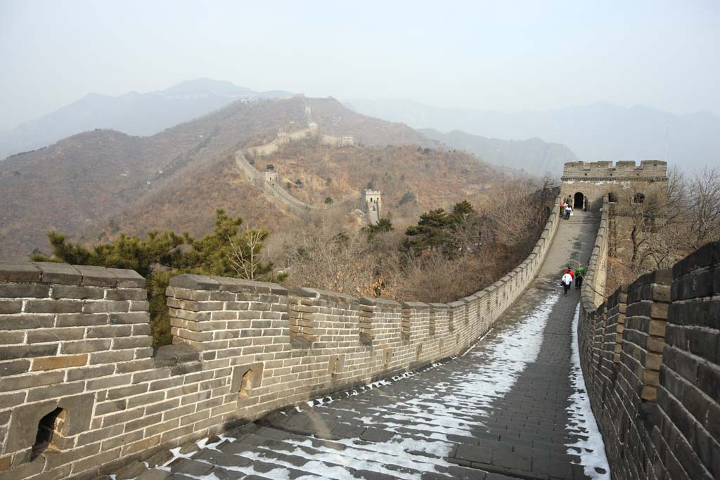 الصورة,المادة,حرر,منظر للطبيعة,جميل,صور,جدار عظيم الصين رأي كامل, جدار القلعة., الحارس في قلعة., Hsiung-Nu.,
