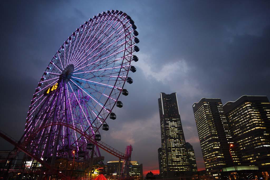 photo, la mati�re, libre, am�nage, d�crivez, photo de la r�serve,Yokohama Minato Mirai 21, tour du rep�re, Ferris roue, Un parc d'attractions, future ville mod�le