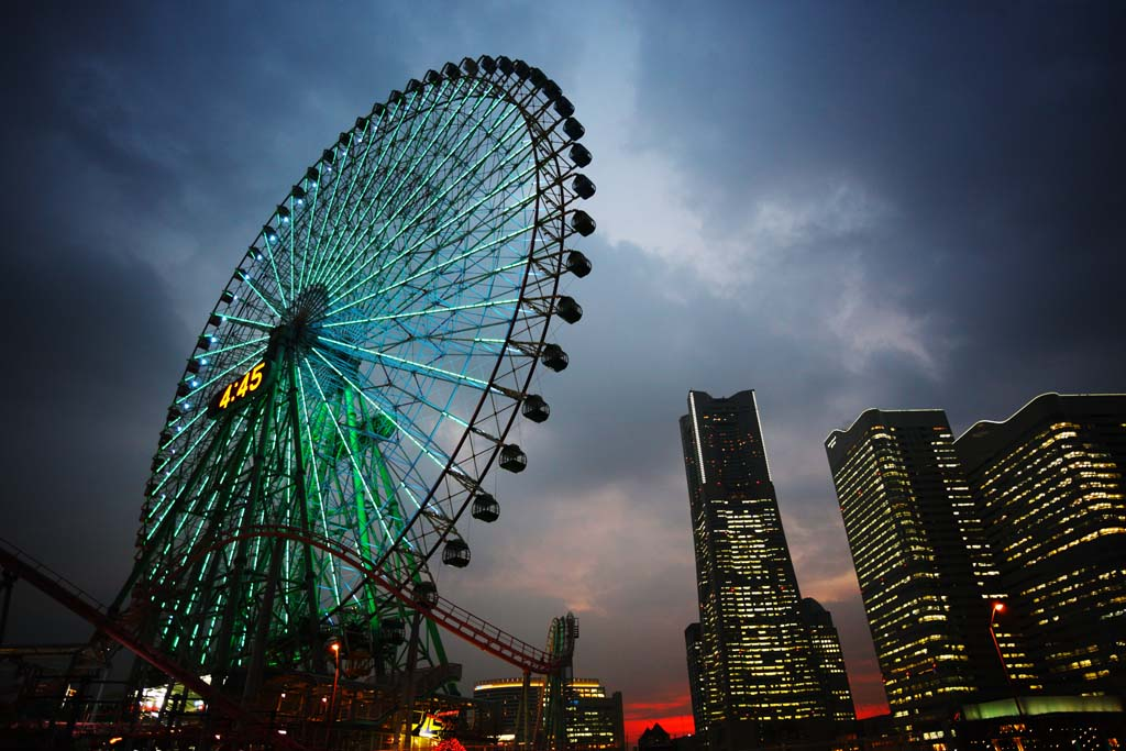 צילום, חינם גשמי, נוף, מדמין, צילום של מלאי ,יוקוהמה מינאטו מיראי 21, מגדל ציון דרך, גלגל פריס, פרק בידור, עיר של מודל של העתיד