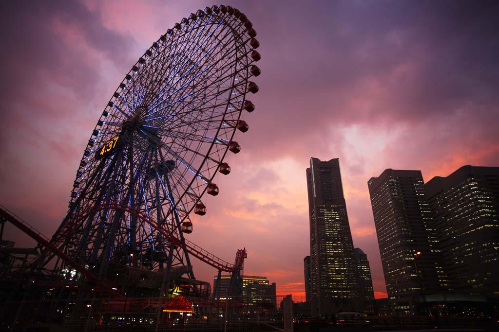 photo, la matière, libre, aménage, décrivez, photo de la réserve,Yokohama Minato Mirai 21, tour du repère, Ferris roue, Un parc d'attractions, future ville modèle