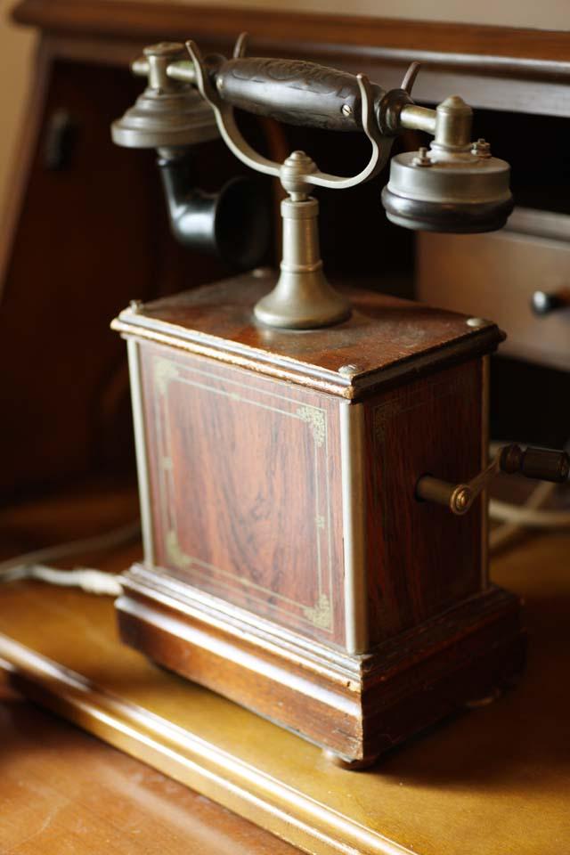 Foto, materieel, vrij, landschap, schilderstuk, bevoorraden foto,Meiji-mura Village Museum telefoneren, Telefoon van de Meiji, De Westernization, Ik aangebracht en spreekbeurt op de telefoon, Cultureel heritage