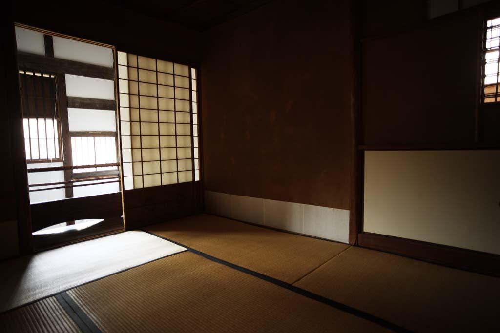 fotografia, material, livra, ajardine, imagine, proveja fotografia,Uma pessoa de Meiji-mura Aldeia Museu leste casa p�nea, construindo do Meiji, tatami esteiram, Quarto de Japon�s-estilo, shoji
