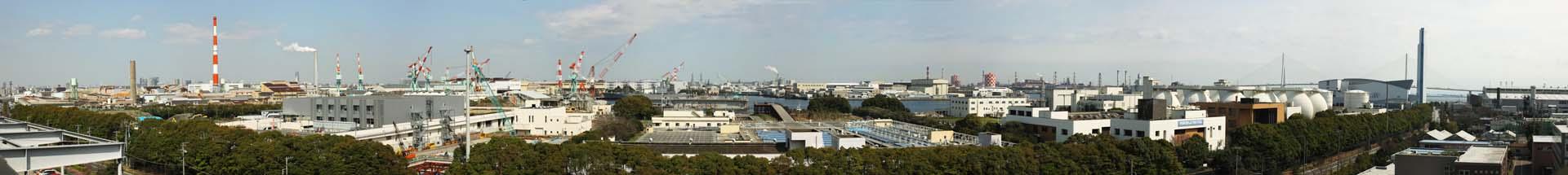 foto,tela,gratis,paisaje,fotografía,idea,Visualización entera de área industrial de Kawasaki, Chiminea, Fábrica, Astillero, Grúa