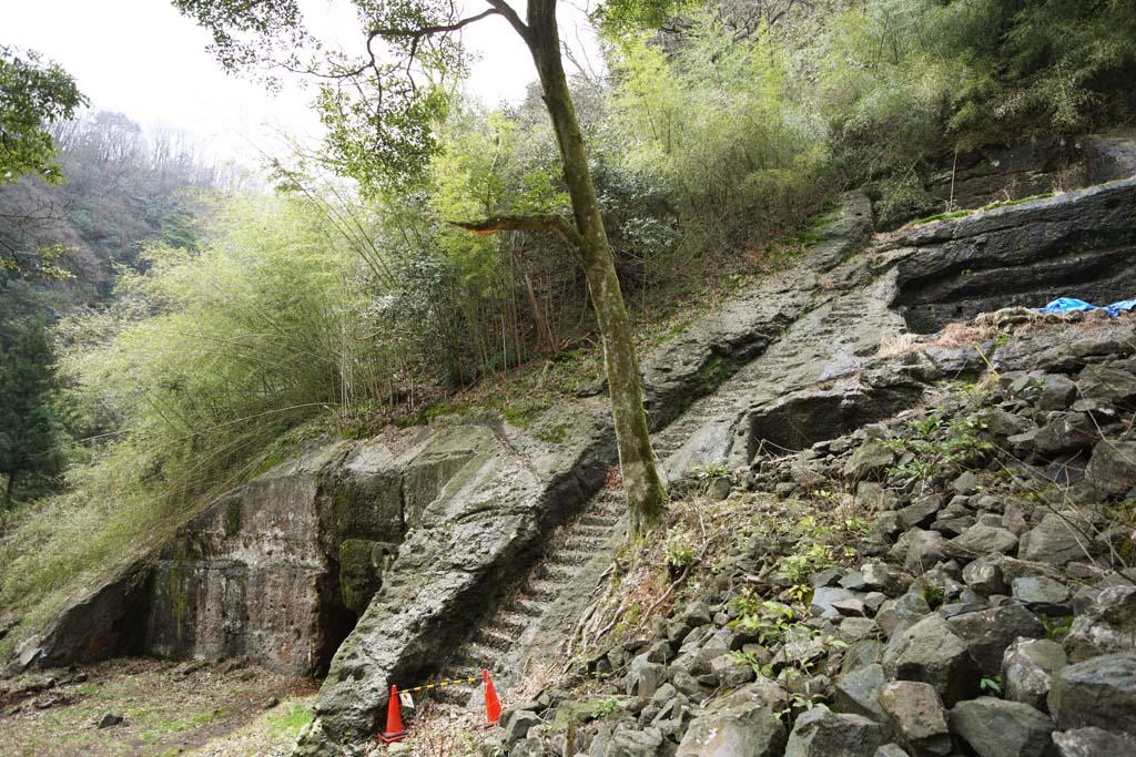 foto,tela,gratis,paisaje,fotograf�a,idea,Una raticida de arsenical del rastro de pueblo de Iwami - plata - mina, Escaleras, Se queda, Cementerio, Somo