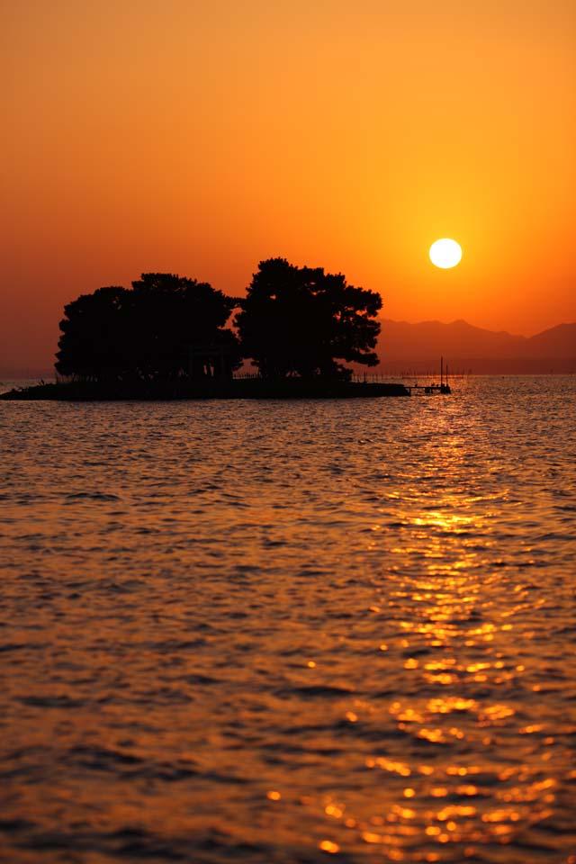 الصورة,المادة,حرر,منظر للطبيعة,جميل,صور,شمس الإطار من البحيرة Shinji-ko, شمس., سطح الماء., جزيرة العروس., 100 اختيارات ياباني شمس الإطار