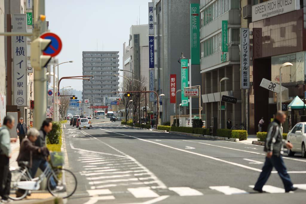 fotografia, materiale, libero il panorama, dipinga, fotografia di scorta,La citt� di Matsue, passaggio pedonale, Asfalto, strada, linea bianca