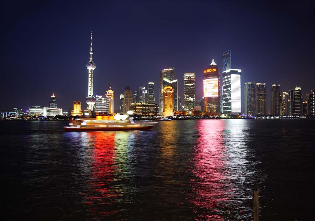 fotografia, materiale, libero il panorama, dipinga, fotografia di scorta,Un grattacielo di Sciangai, edificio a molti piani, Alla buio, Io me l'accendo, grattacielo