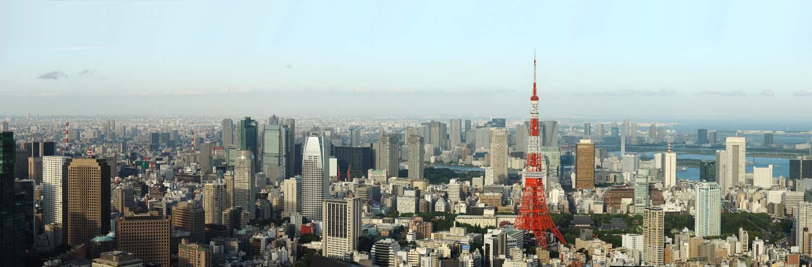 fotografia, materiale, libero il panorama, dipinga, fotografia di scorta,Tokio vista intera, Torre di Tokio, edificio a molti piani, Baia di Tokio, L'area del centro