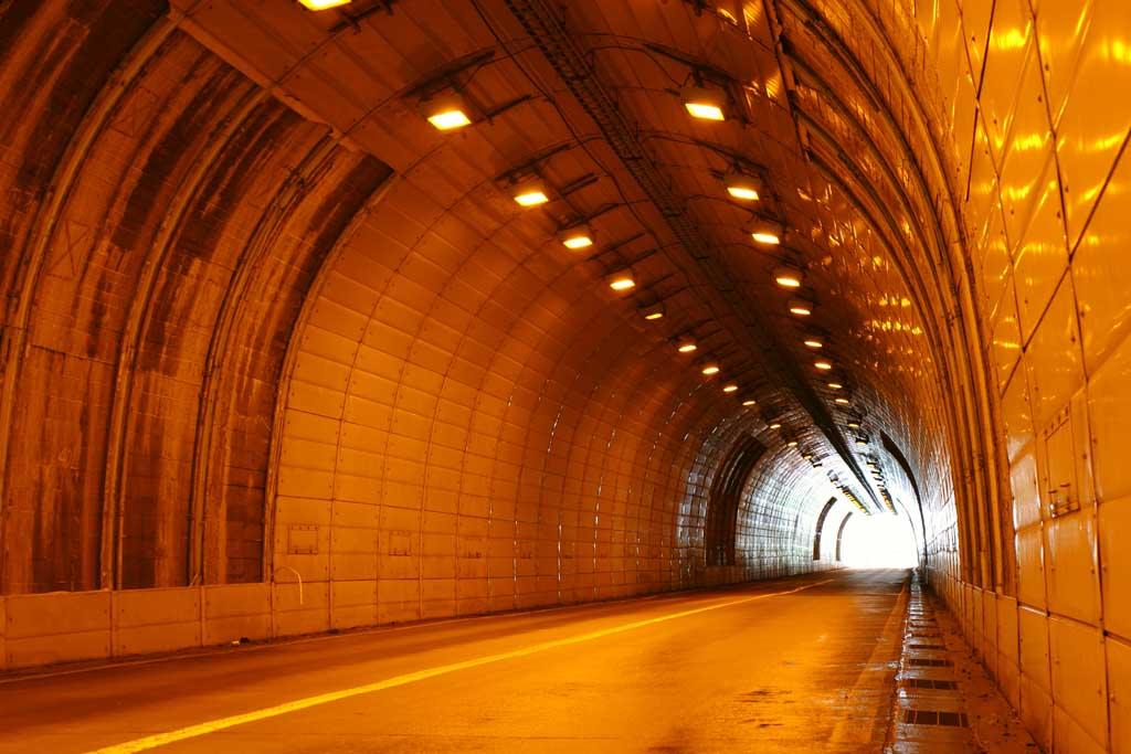 Фото, материальный, свободный, пейзаж, фотография, фото фонда., Оранжевый цвет туннеля., Туннель, sodium лампа, Апельсин, Выход